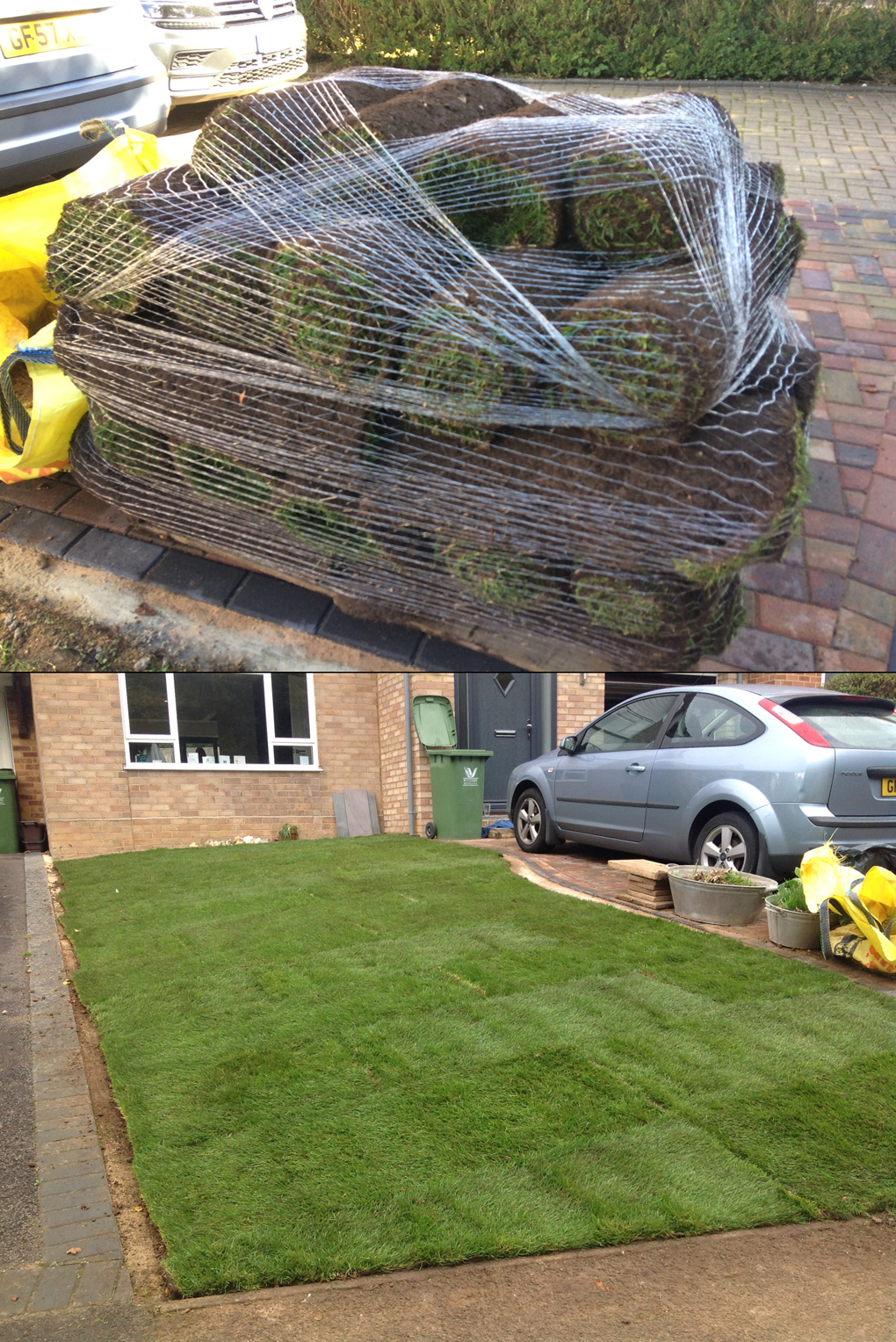 pile of turf and turfed lawn