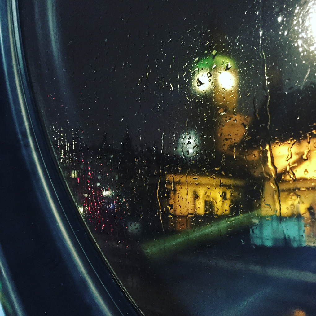 Big Ben through a rainy window