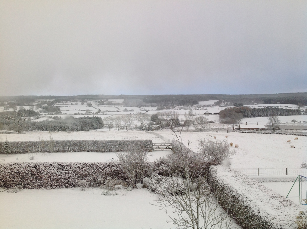 snowy English countryside