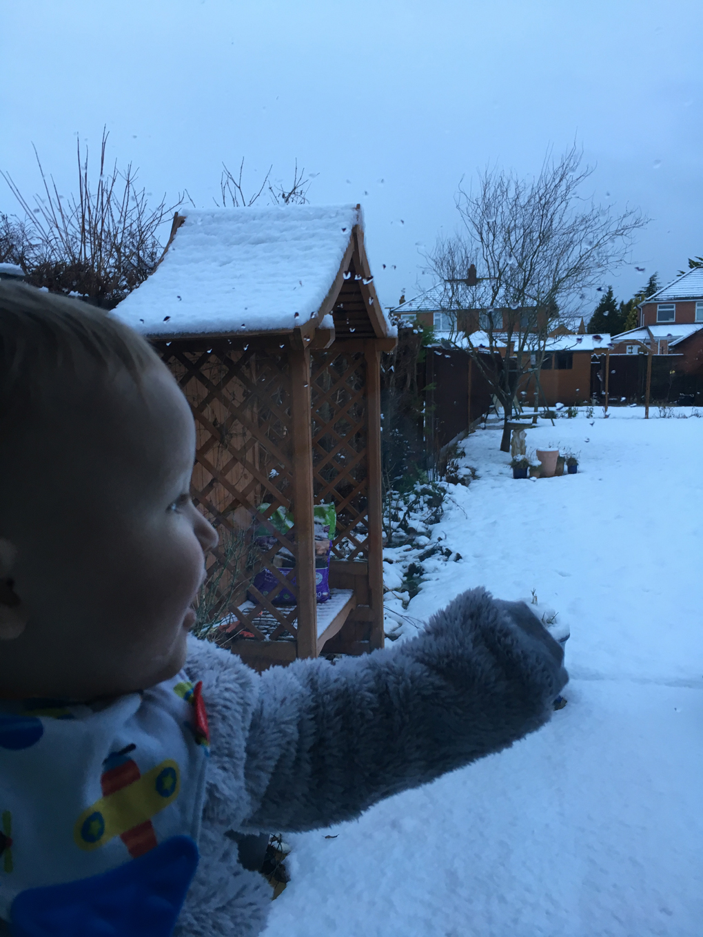 baby looking at snow