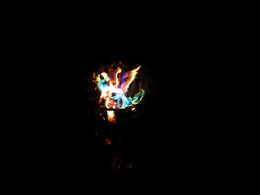 multicoloured fire