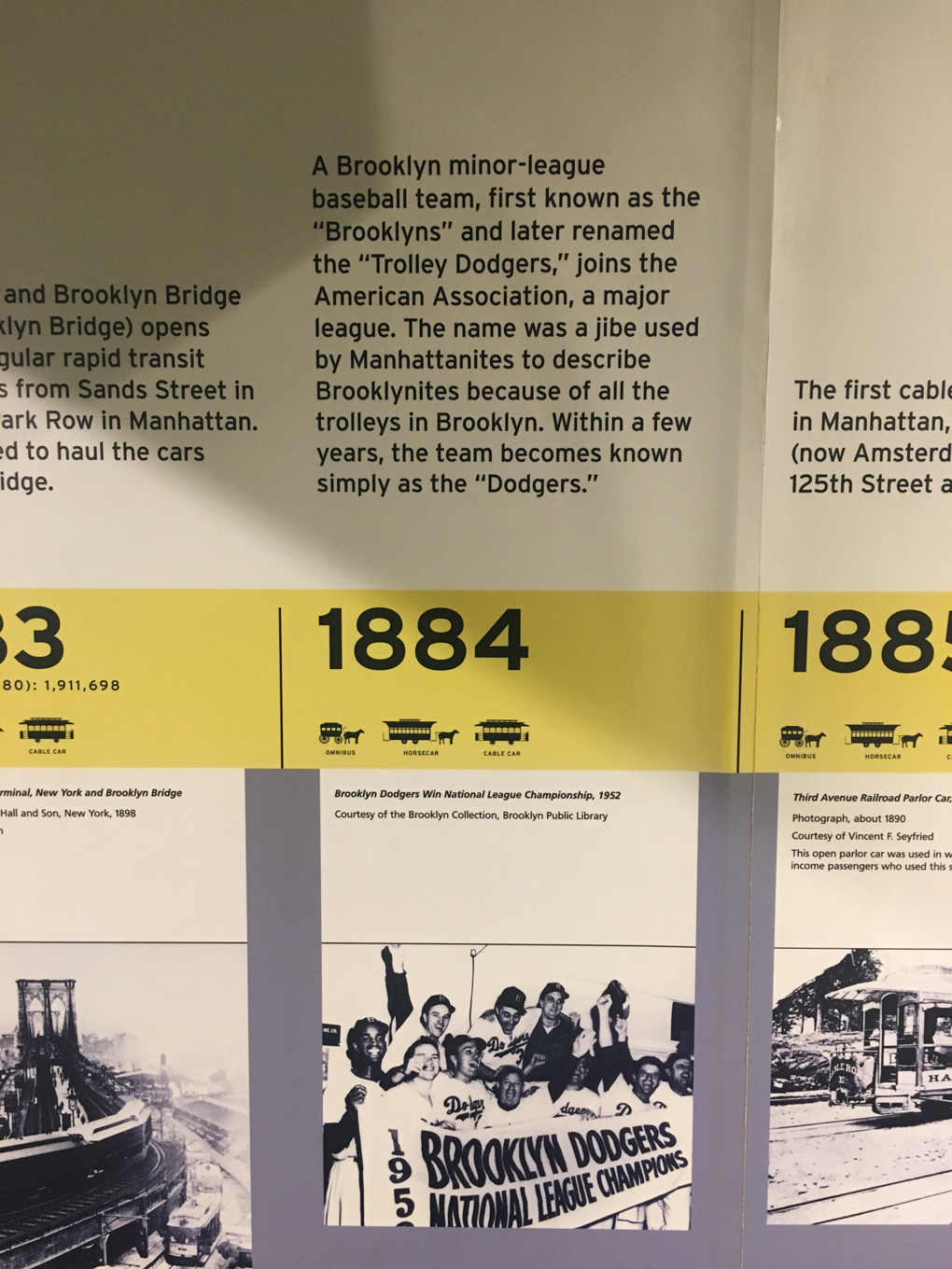 A timeline entry for the New York MTA describing how Broolynites' propensity for fare-dodging on trams meant the Brooklyn baseball team were named 'The Dodgers'