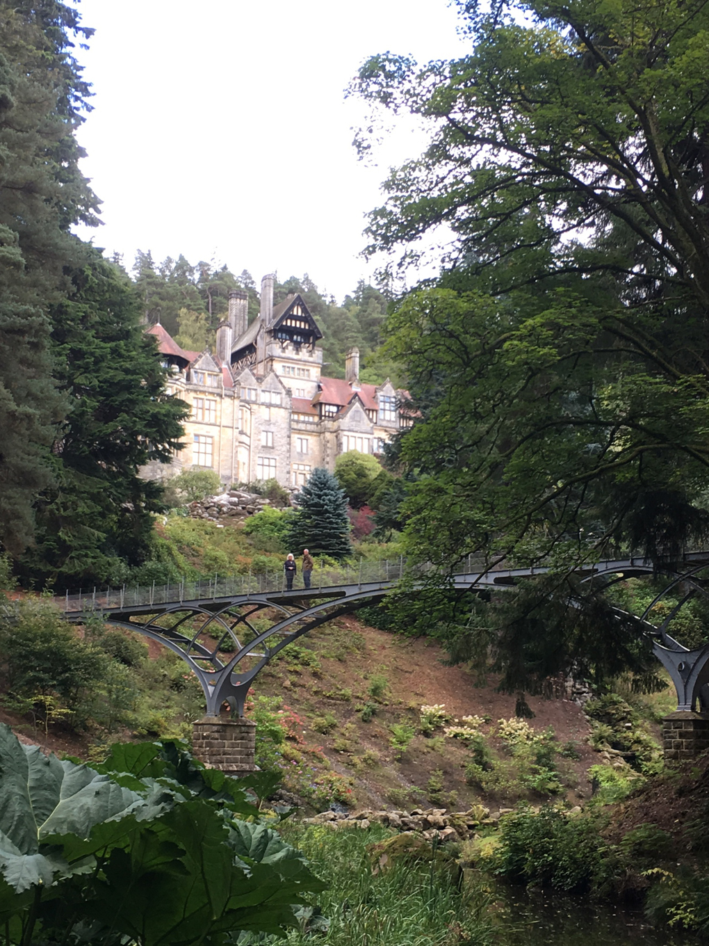 stately home in the woods with a bridge in front