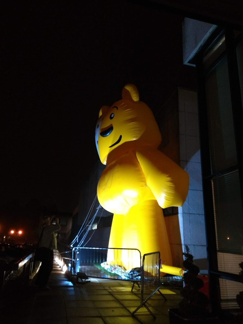giant bear outside BBC Wales building
