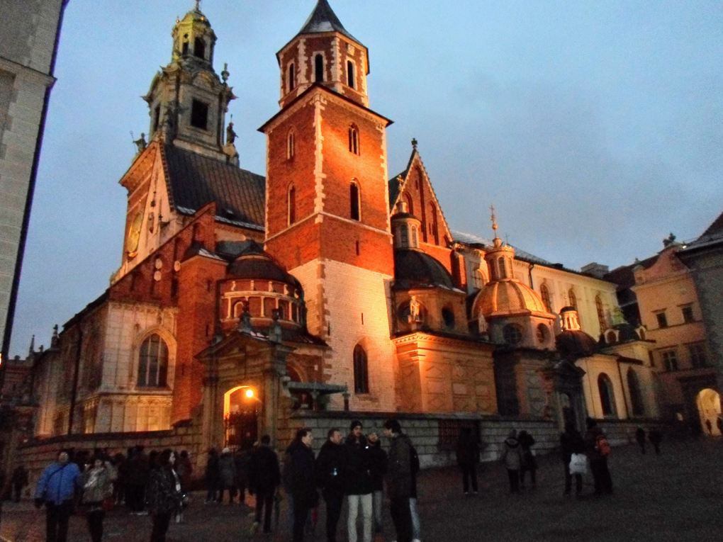 This picture shows the Cathedral at Krakow's Wawel Castle bathed in a warm glow from the evening sun