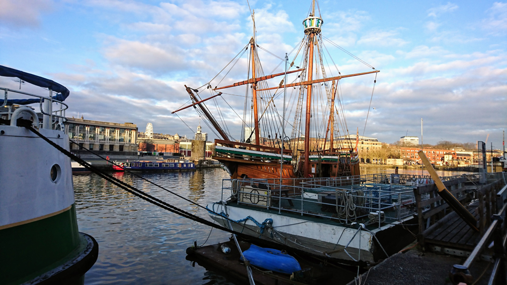 A replica of 'The Matthew' - a 50 ton caravelle ship captained by John Cabot in 1497 when she sailed from Bristol to North America. She looks frail but was fast and able and is a beauty moored at Wapping Wharf in Bristol. Quite a small vessel to sail the Atlantic!!!