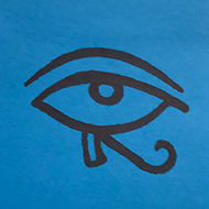the eye of horus drawn on a postit note