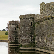 Beaumaris Castle and the surrounding moat.