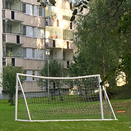An appartment building, trees and a football goal.