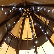 A circle of pretty foliage hangs in the peak of a yurt tent. The picture is taken from below.