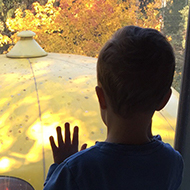 Boy looking at a yellow object
