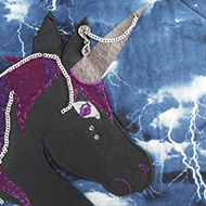 A black leather punk unicorn and verses on a thunderstorm background