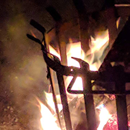 Flames in a brazier on New Year's Eve.