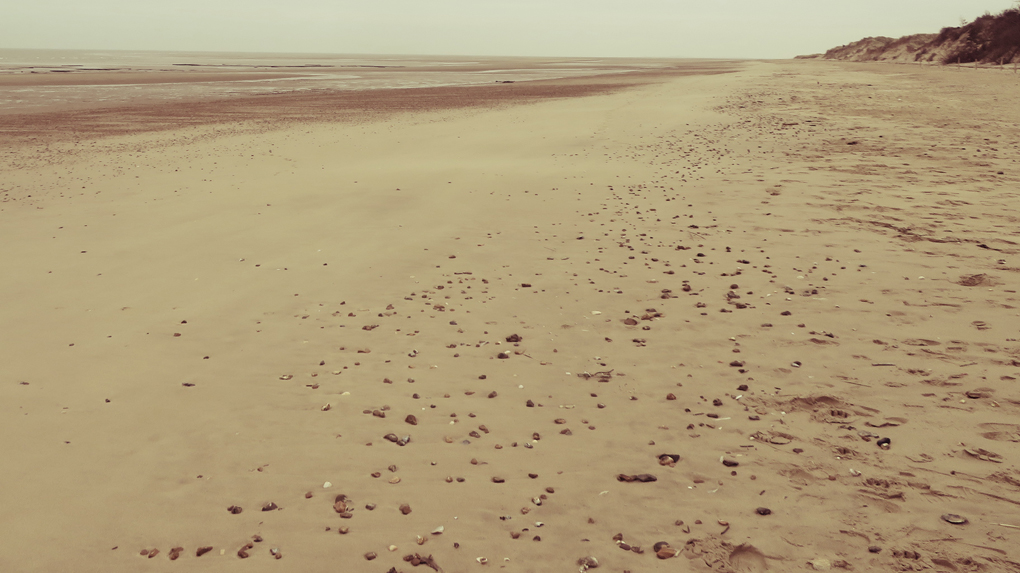 A deserted beach stretches as far as the eye can see into a vanishing point at the Holme Nature Reserve, North Norfolk. In the silence you can recharge your batteries