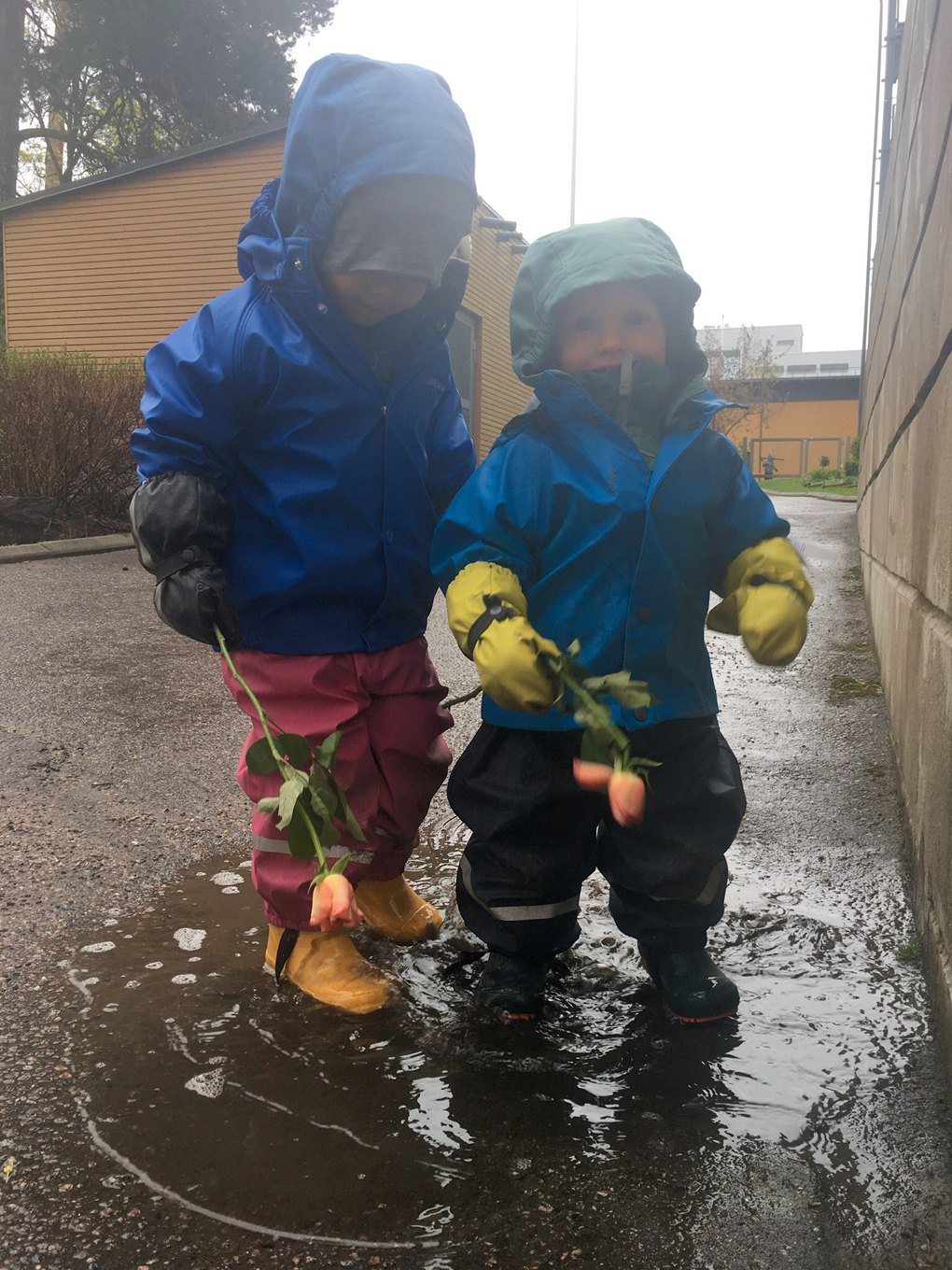 Two boys standing in a puddle holding roses.