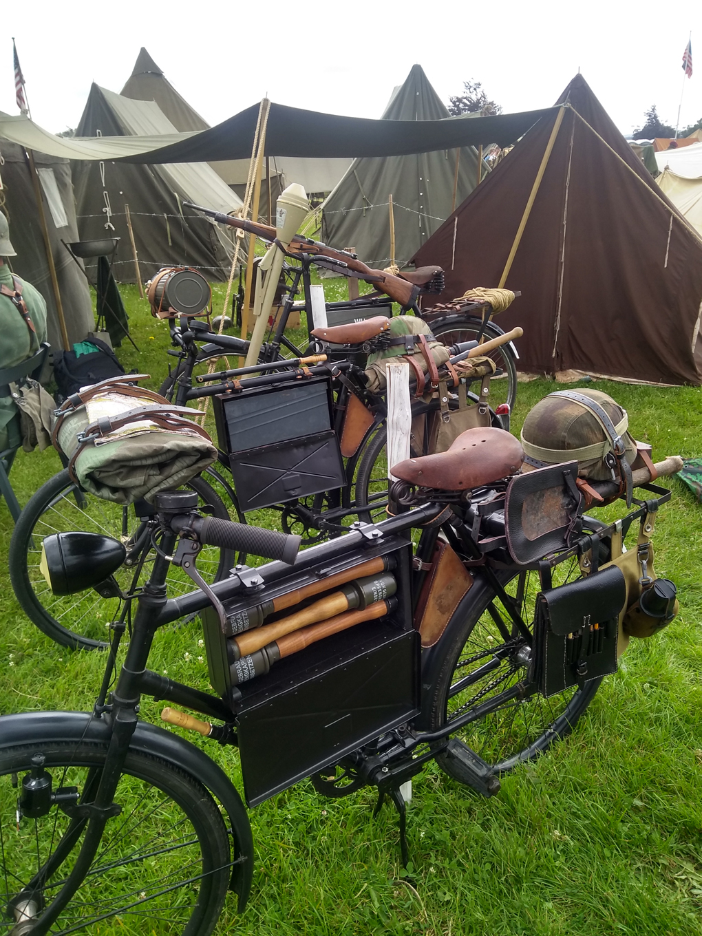 Fully kitted out WWII era military bicycles