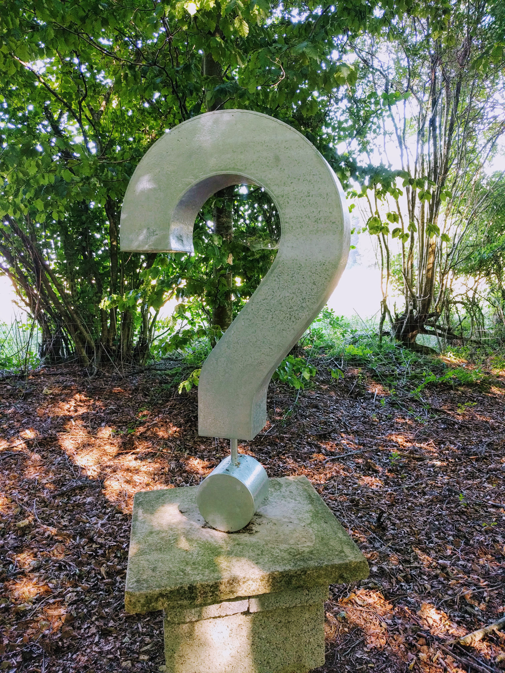 Picture of a sculpted question mark.