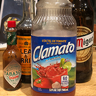 The ingredients for a michelada spiced beer cocktail