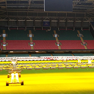 The pitch of the Principality Stadium in Cardiff, covered in bright lamps, pointed at the grass, presumably to aid growth.