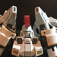 A RG Gundam model kit of the Tallgeese from Gundam Wing