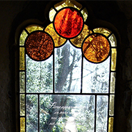 View through a stained glass window.