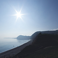 Sidmouth Beach basking in the sunlight one Saturday in March.