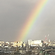 rainbow over London viewed from the top of a tower block