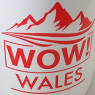white mug with 'Wow! Wales!' printed on it in red