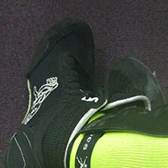 A pair of very florescent green/yellow socks
