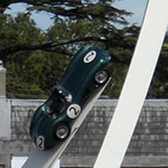 Gerry Judah's 2019 Goodwood 'Festival of Speed' central feature, in position between the front of Goodwood House and the edge of the Goodwood Motor, West Sussex, England
