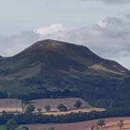The view over to the Eildon Hills from Scott's View in Roxburghshire on a beautiful sunny morning.