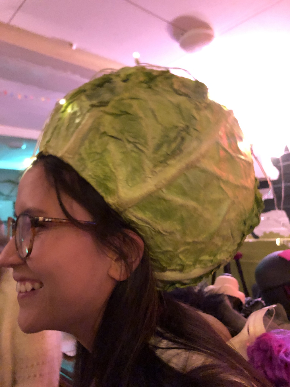 A girl with a cabbage hat