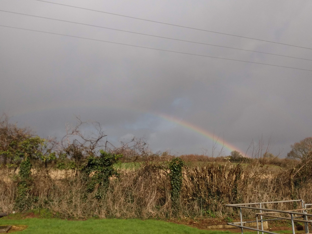 Rainbow against a back drop of dark grey clouds and green fields