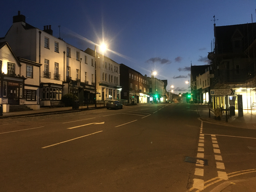 High Street in dorking at 8pm not a car or person in sight