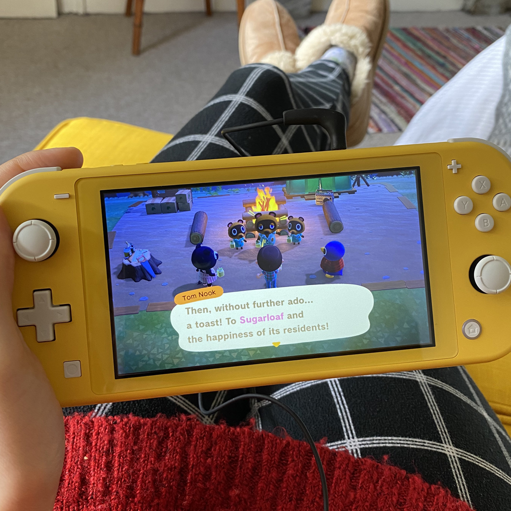 Playing Animal Crossing on a Nintendo Switch Lite