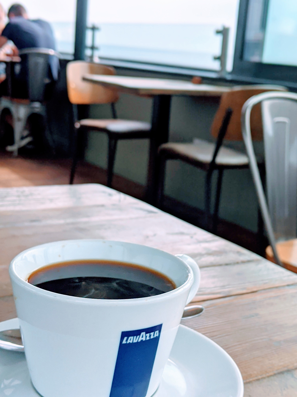 Lavazza coffee in seaside cafe