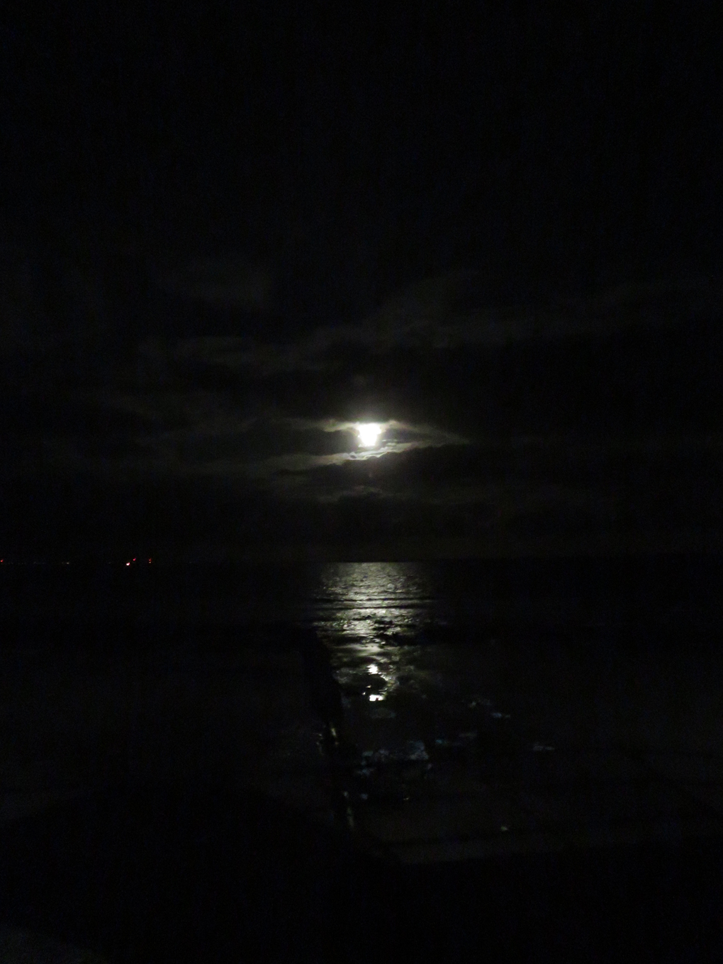 We see an almost black and white picture of the moon and its reflection on the sea at night