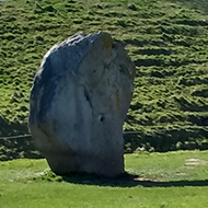 Large stones stand in a pleasant, green field at Avebury village in Wiltshire