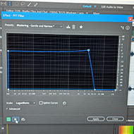 visualised FFT filter in an audio editing program