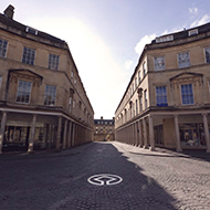 Photograph outside the Pump Rooms in Bath on a sunny day.