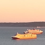 Cruise ships moored in Weymouth Bay