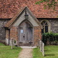 A small village church which looks suspciously similar to the one from The Vicar Of Dibley.