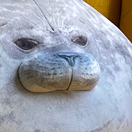 A plush toy that looks like a very, very round seal