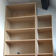 Empty bookshelves