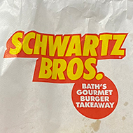A Schwartz Burger bag and shake