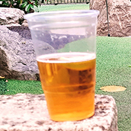 A shot down the green of a mini golf course with the hole number visible and a plastic cup of beer balanced on top.