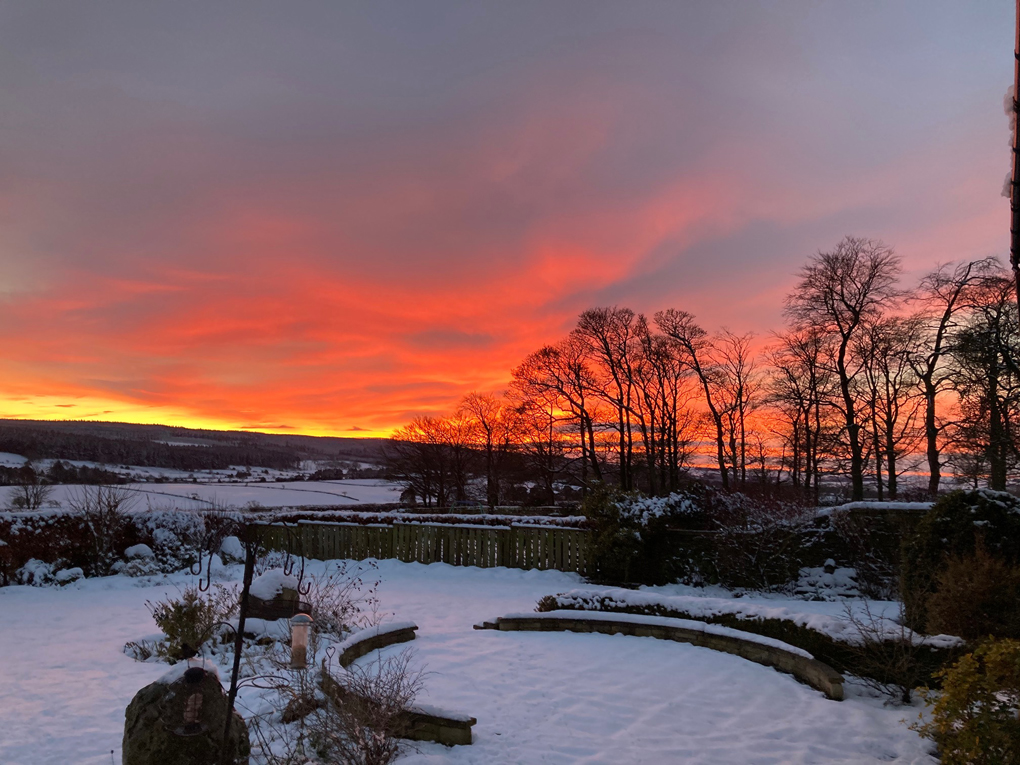 Sunset and snow in Slaley