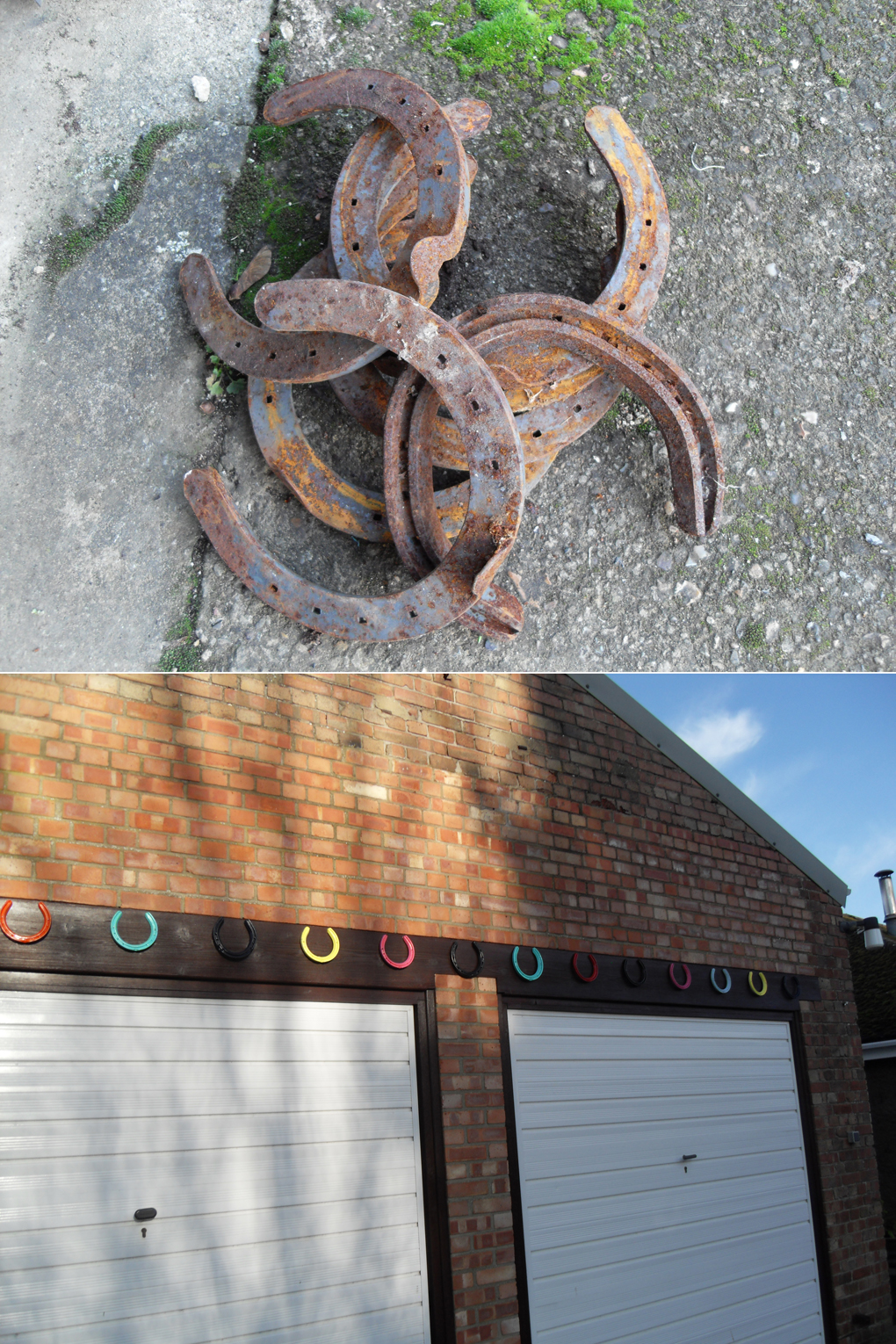 row of multicolour horseshoes nailed above garage doors