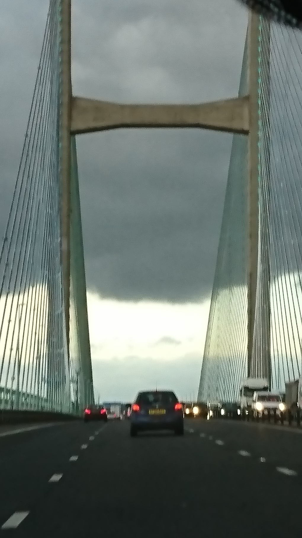 Heading home after house hunting we et this sight as we reached the Severn Bridge heading to Bristol - a threatening sight of a heavy huge black cloud practically covering the road ahead. Was this a portent of things to come!!! I hope not.